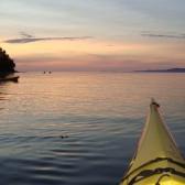 Sunset underway with Adventuress Sea Kayaking